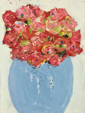 Red Roses Flower Painting Original Impasto Palette Knife Art Katie Jeanne Wood
