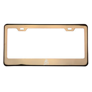 Rose Gold Laser Etched Lamborghini Logo License Frame w/Cap T304 Stainless Steel
