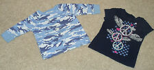 Lot x2 Girls Old Navy/Childrens Place Shirts-Army/Camo-Peace/Wing-Blue/Pink-XS/4