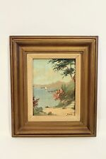 Vtg Risetto Oil on Canvas Old Italian Coastline Original Art Painting Signed