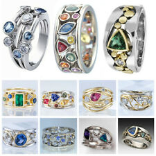 Fashion Women Two Tone 925 Silver Rings White Sapphire Ring Jewelry Size 5-11