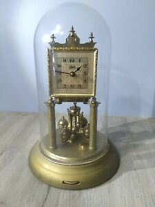 VINTAGE SCHATZ ANNIVERSARY CLOCK 49 WITH GLASS DOME SELLING  FOR PARTS