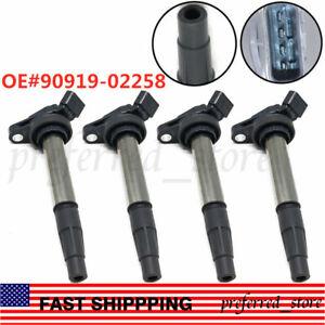 4PCS Ignition Coil 90919-02258 Fit For Toyota Corolla Matrix Prius Scion xD 1.8L