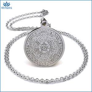 Collana uomo donna con ciondolo amuleto talismano Salomone in acciaio inox da a