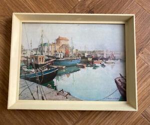 VERNON WARD Cornwall Harbour Coastal Boats Scene Framed 60s Mid Centrury