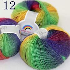 AIP Soft Cashmere Wool Colorful Rainbow Shawl DIY Hand Knitting Yarn 50grx3 12