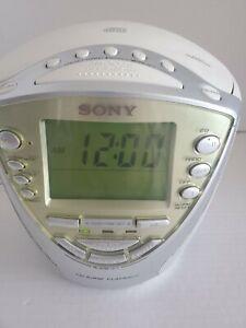 Sony Liv 4 Band Clock ICF-CD853V CD / Weather / FM/AM Radio / Alarm Tested
