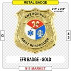 Emergency First Responder GOLD Badge Paramedic EMT SAR Rescue Patch FD VFF  G 43