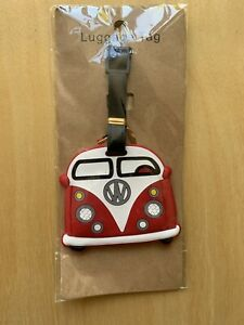 VW Camper Van Red And White Luggage Tag Novelty Gift Free UK Post.
