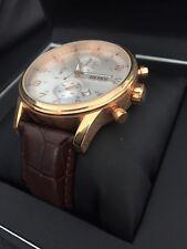 Hugo Boss Chronograph Wrist Watch Brown Leather & Rose Gold