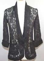 EUC Apostrophe Black Lace Sheer Evening Jacket Cover Up Womens S
