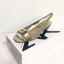 Anne Klein Sport Halina Women's Wedge Mid Heel Shoes Size 8.5 Gold New