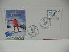 CAMPIONATI MONDO SCI NORDICO  ITALIA 2003 BUSTA FDC FILAGRANO ANNULLO CAVALESE