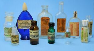 vtg Glass Bottle lot Specimen upcycled w/ FAUX APOTHECARY labels Halloween decor