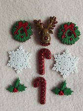 DRESS IT UP BUTTONS ~ DECK THE HALLS ~ REINDEER ~ SNOW ~ HOLLY ~ WREATH ~ CANE
