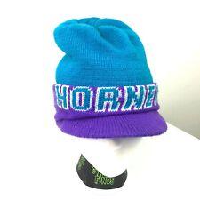 VTG Logo 7 Charlotte Hornets Beanie Hat w/ Bill Blue Purple Spell Out Logo 90s