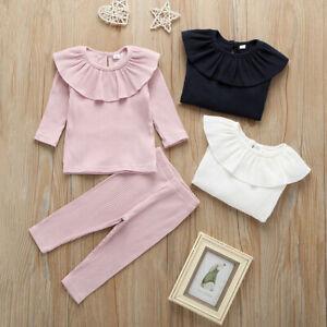 Newborn Baby Girls Long Sleeve Ruffle Solid Tops+Pants Pajamas Sleepwear Outfits