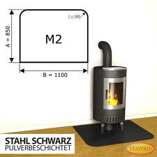 Kaminbodenplatte Funkenschutz | Temprix | Kaminofenplatte | Stahl schwarz M2 ✔
