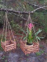 """2 Handmade Wooden Orchids/Bromeliads Hanging Baskets 11"""" + 8"""". Torched Finish."""