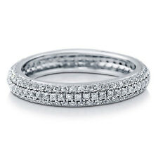 Sterling Silver 925 CZ Pave Round Anniversary Eternity Wedding Band Ring Sz 4-10