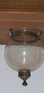 Antique Victorian Glass And Brass Plafonnier, Ceiling Light Shade