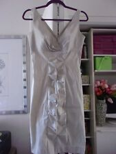 Gorgeous CALVIN KLEIN Shimmering Taupe Dress w/Front Details-Size 4-EUC
