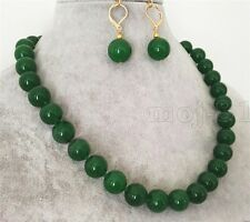 """Natural 12mm Green Jade Round Gemstone Beads Necklace 18"""" Earring Set  AAA"""