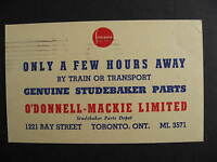 CANADA O'Donnell-Mackie Studebaker parts Toronto advertising postcard