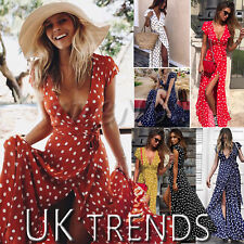 UK Womens Holiday Polka Dots Slit Ladies Maxi Long Summer Print Beach Dress 6-14