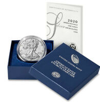 2020 W Burnished $1 American Silver Eagle Uncirculated Coin in OGP w/ COA