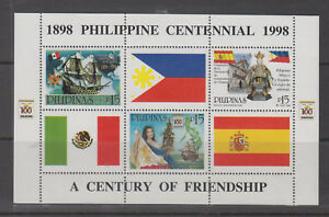 Philippine Stamps 1998 Century of Friendship w/ Spain & Mexico ss MNH