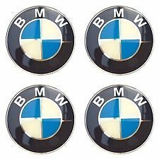 4 x 65mm BMW RUOTA ADESIVI distintivi center caps E30 E36 E46 1 2 3 4 5 6 7 8 X3 X5