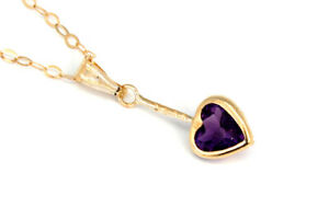 9ct Gold Amethyst Heart Pendant Necklace and Chain Gift Boxed Made in UK
