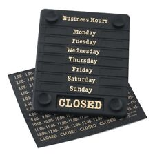 HOURS OF BUSINESS OPEN-CLOSED SIGN SHOP-WINDOW OPENING HOURS SIGN BLACK-GOLD