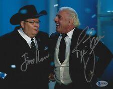 Ric Flair & Jim Ross Signed 8x10 Photo BAS Beckett COA WWE HOF Picture Autograph