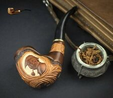 """HAND CARVED EXCLUSIVE WOODEN REAL TOBACCO SMOKING PIPE """" Sherlock Holmes """" + BOX"""