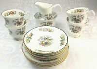 Vintage Royal Tara Ireland 14 Piece Bone China Tea Service Fruit and Bird Design