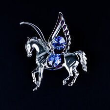 SILVER AND BLUE CRYSTAL PEGASUS FLYING HORSE CHRISTMAS ORNAMENT