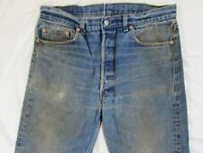 Vtg USA Made Levi 501 Button Fly Faded Worn Denim Jeans Tag 36x31 Measure 34x29