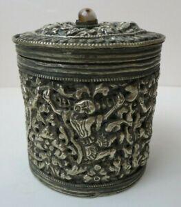 SCARCE Antique Burmese Silver Betel Box  6 Figures Repousse Design Agate Finial