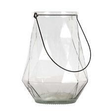 Laterne Rautenstruktur Glas 24,5 cm / Teelichthalter, Windlicht, Strukturglas