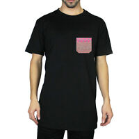 Men's Casual Cotton Tee Crew Neck Short Sleeve T-Shirt Pocket Tee Black Fashion