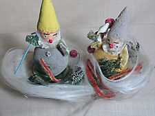 Vintage Christmas Gnomes or Elf's in a Nest of Angel Hair Japan