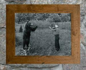 "Charming... Boy Shoots Bear Gag Photo... Vintage 8""x12"" Photo Print"