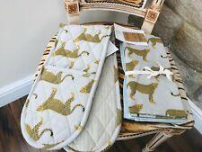 NEW LEOPARD CHEETAH ANIMAL PRINT TEA TOWEL SET & MATCHING OVEN GLOVE