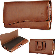 For OnePlus 3~Deluxe Brown Sleeve Leather Pouch Wallet Case Belt Clip Holster