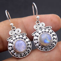 Rainbow Moonstone 925 Sterling Silver Jewelry Gemstone Earrings 1.3""
