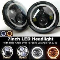 2x 7''Inch LED Headlights Halo DRL Angel Eyes for PATROL GQ Toyota Land Cruiser
