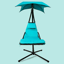 New listing Blue Outdoor Hanging Chaise Lounger Patio Swing Hammock Chair Arc Stand w/Canopy