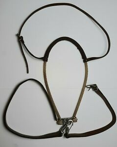 Waxed Lariat Rope Noseband Tie Down Headstall w/Strap